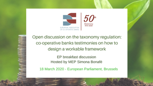 EP breakfast discussion on the taxonomy regulation: co-operative banks testimonies on how to design a workable framework