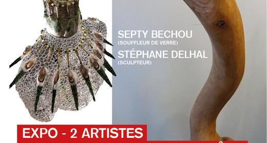 Expo de kunstenaars van de ateliers van het Rood Klooster: Septy Bechou (souffleur de verre) en Stéphane Delhal (sculpteur)