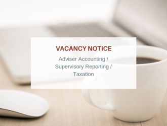 Vacancy notice: Adviser Accounting/Supervisory Reporting/Taxation