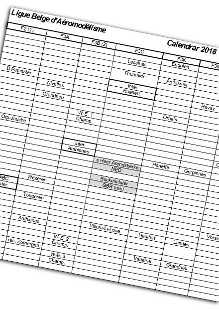 Calendrier Lba 2018 Des Competitions En Aeromodelisme