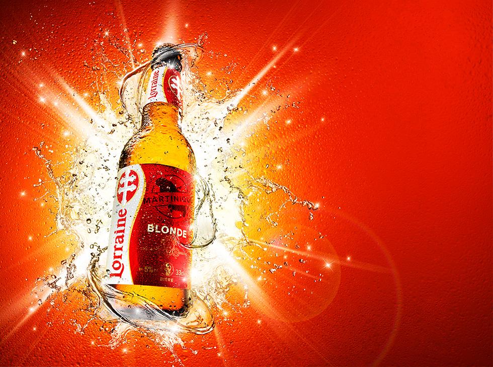 Visuel explosif pour la bière Lorraine par Glucône-R