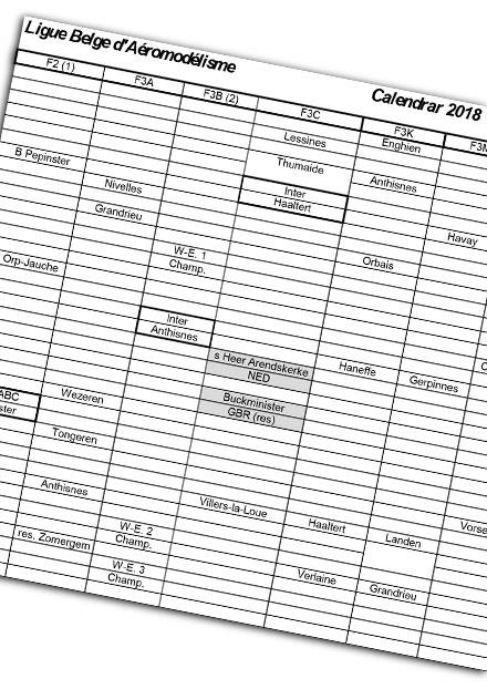Calendrier des concours LBA 2018